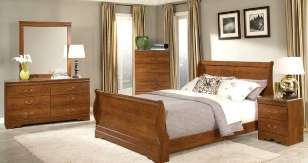 7pc Queen Faux Marble Bedroom Set W Sleigh Bed For Sale