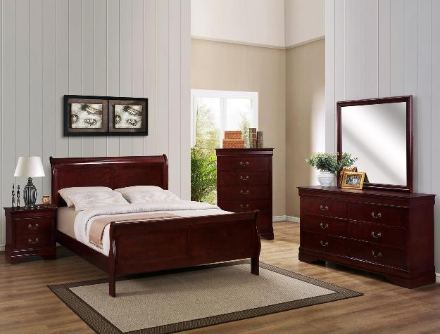 7pc Solid Wood COMPLETE Queen Or Full Size Bedroom Set Cherry Or Black For