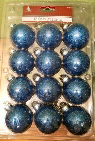 8 Brand New 12 packs of glass sparkle  Glitter blue ornaments