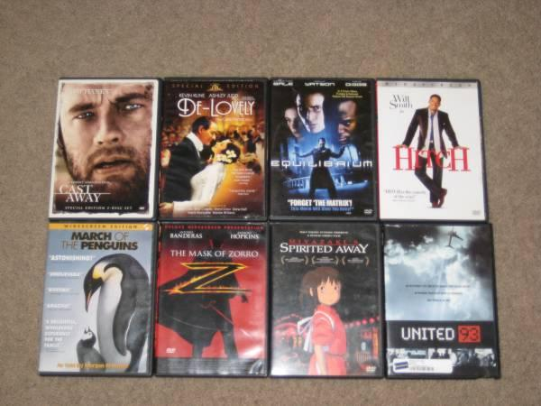 8 DVD Movies! Spirited Away, Zorro, Hitch, Cast Away &