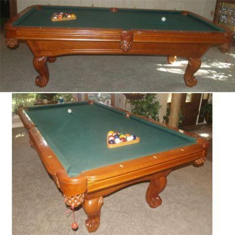 8 39 slate pool billiard table ball claw style legs maple for 1 slate pool table