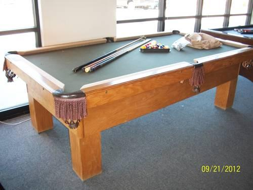 8' USED OAK BRUNSWICK SLATE POOL TABLE