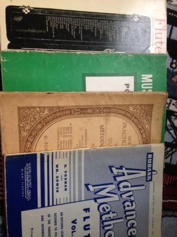 8 vintage music books for flute, Spanish Guitar, Piano, Violin