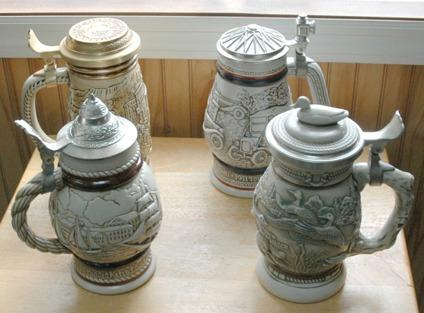 $80 Avon - Four 4 Vintage Beer Steins with Lids-Tallships, Cars, Ducks, Gold Rush
