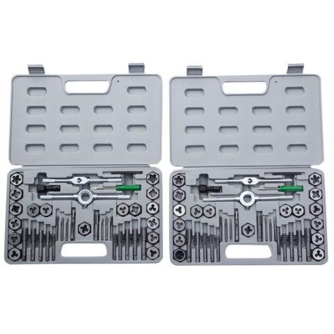 80 Pieces Tap Hex Die Tool Kit 40pcs SAE and 40pcs
