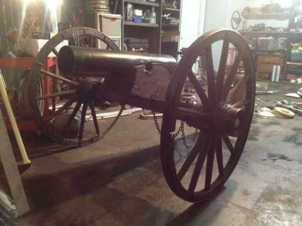 $800 civil war style yard cannon vintage wagon wheels olivebranch ms