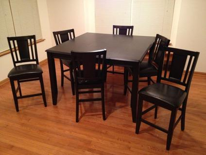 obo tall large kitchen table black 6 chairs for sale in gilberts illinois classified. Black Bedroom Furniture Sets. Home Design Ideas