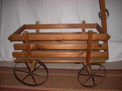 $85 Vintage Wood and Metal Farm Wagon large doll size