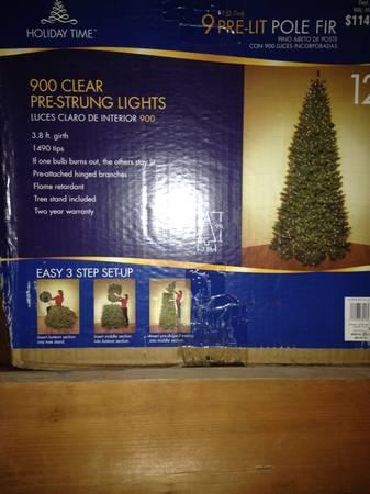 9 Christmas tree - prelit - $60