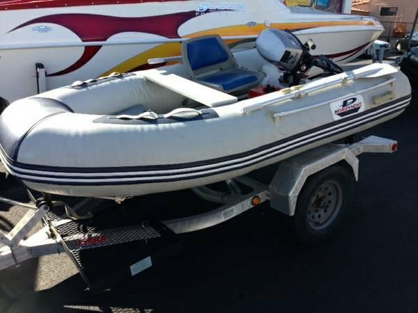 9 Inflatable Boat with trailer and outboard motor - $2600