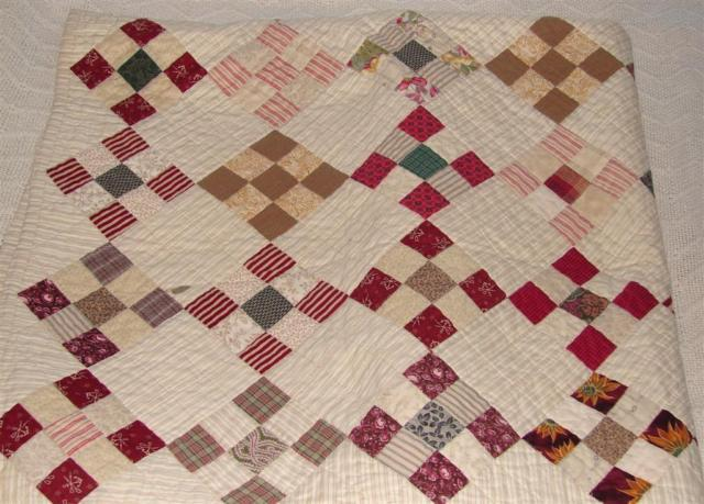 9 patch square scrap quilt. New. Cream.Blue.Red