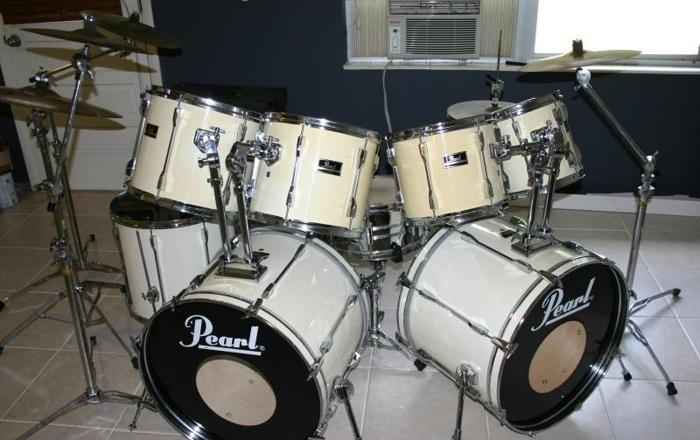 9 pc pearl export drum set w zildjian a custom cymbals for 18 inch floor tom for sale