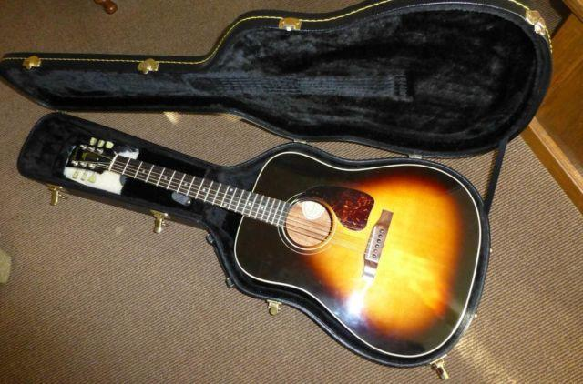 90 s gibson gospel acoustic guitar with accessories and hard shell cas for sale in logansport. Black Bedroom Furniture Sets. Home Design Ideas