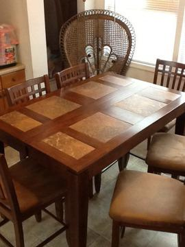$925 OBO Counter Height Dining Room Table and 6 Chairs with Pop-Up Leaf
