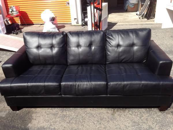 ▻▻Contemporary Sofa - Black Leather - MUST GO THIS AM ...