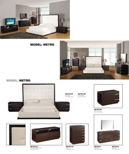 Metro Platform Queen Bed Dresser Mirror And 2 Nightstands