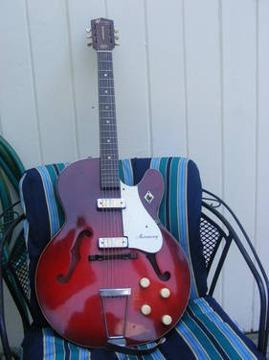 995 1965 Harmony Rocket Red 2 Pickup Guitar In Great
