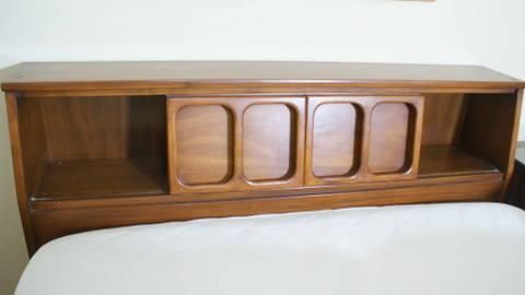 A modernist white furniture co walnut 5 piece for American black walnut bedroom furniture