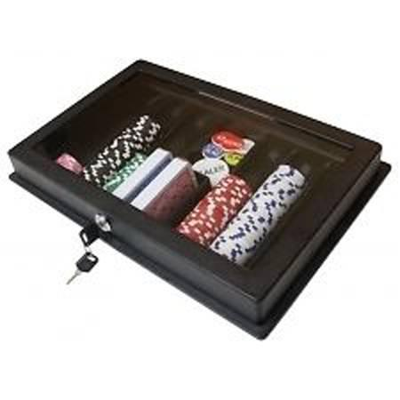 ABS Thick plastic poker dealer tray with cover and lock