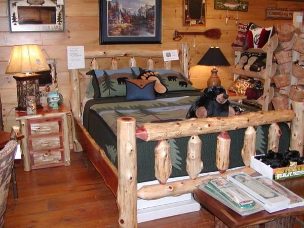 Adirondack Vacation cabin furniture plank king mattress - $1099