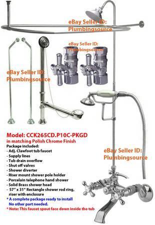 Adj Tub Mount ClawFoot Tub Faucet W Shower Riser Enclosure Kit Chrome For