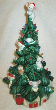 adorable ceramic lighted christmas tree with mouse