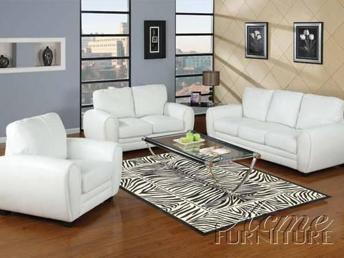 Amber White Black Brown Bonded Leather 3pc Sofa Set Was