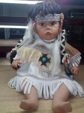 American Indian Doll with Porcelain head feet and hands - $40