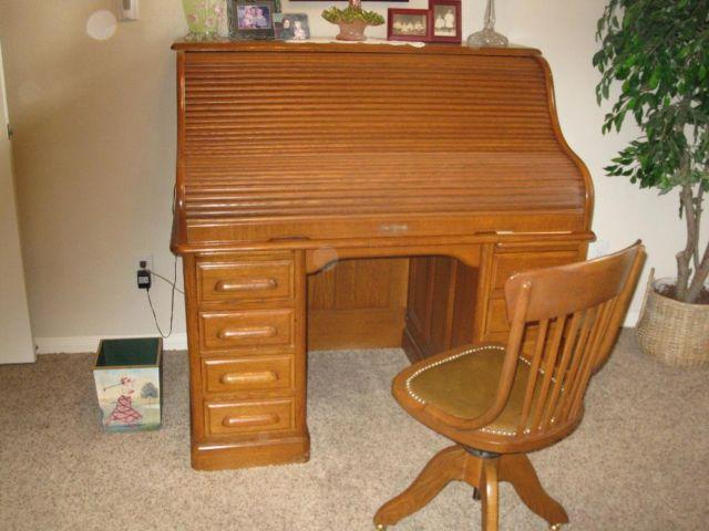 American oak roll top desk and chair for sale in cypress for Furniture 77429