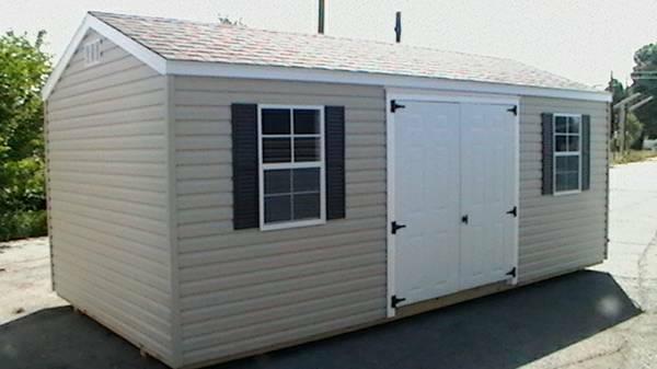 Amish Built Vinyl Storage Building For Sale In Greensboro
