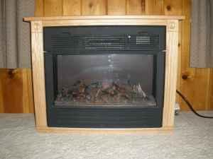 Amish Made Electric Fireplace Heater Oak Harrah For