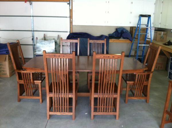 Amish Oak Mission Style Table Chairs and Barstools