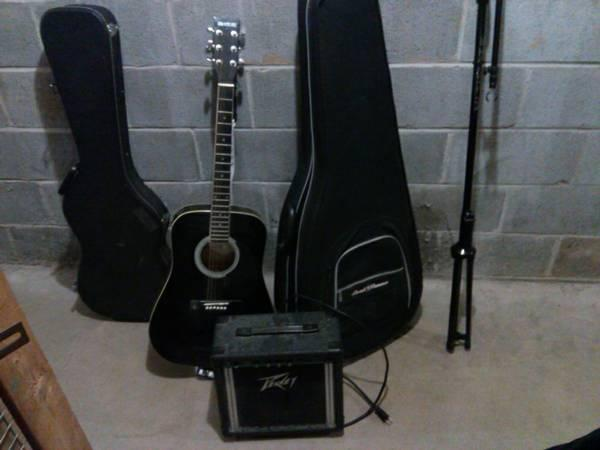 amp, acoustic guitar, guitar cases, and microphone stand - $120