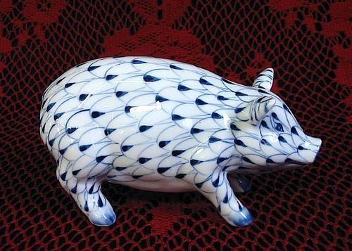 Andrea By Sadek Hand painted Porcelain Blue & White PIG