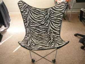 Animal Print Black And White Zebra Folding Chair