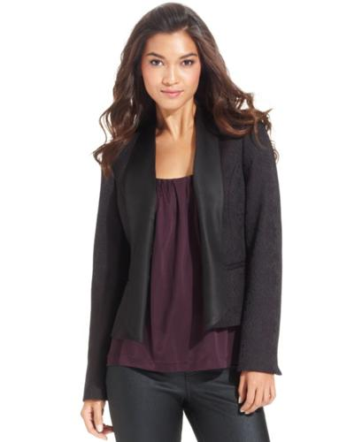Anne Klein Jacket, Jacquard Shawl Satin Collar