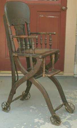 antique 1800s carved oak convertible highchair stroller cane seat