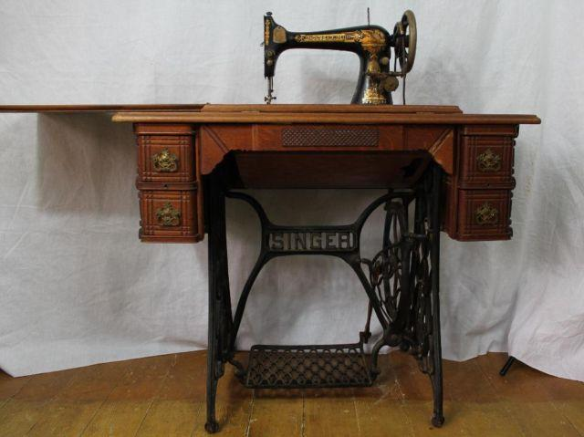 Antique 1896, Model 27, Singer Treadle Sewing Machine, - Antique 1896, Model 27, Singer Treadle Sewing Machine, In Oak