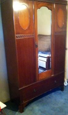Antique 1920 S Wood Armoire Wardrobe Closet Chifferobe