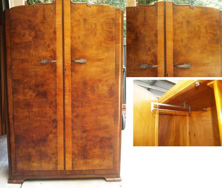 Antique 1930 's Wardrobe Armoire Burl Walnut VERY NICE