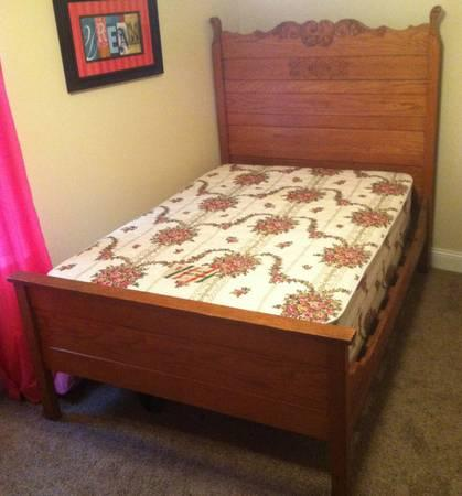 Antique 3/4 size bed frame, mattress, and box spring -