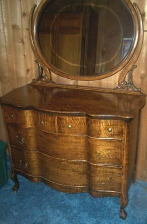 Antique 4 Drawer Dresser W Beveled Mirror Make Offer