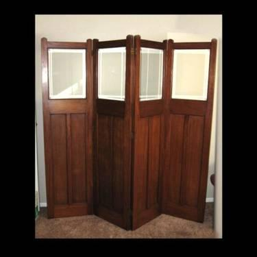 Antique 4 panel room divider solid wood with beveled Reclaimed wood furniture portland oregon