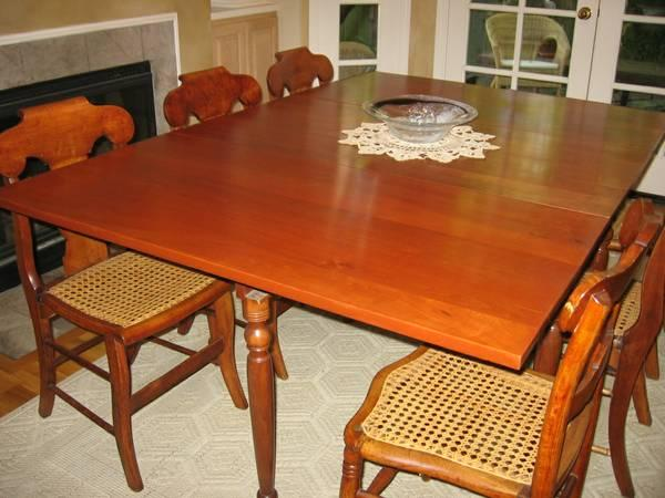 Antique American Solid Cherry Drop Leaf Dining Table For