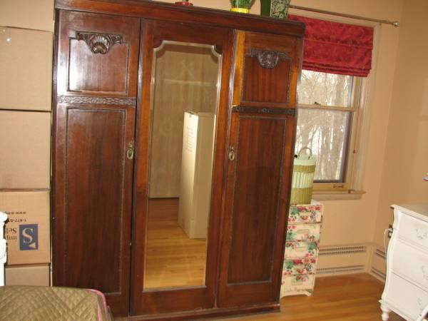 Antique Armoire Beautiful With Beveled Mirror   $600