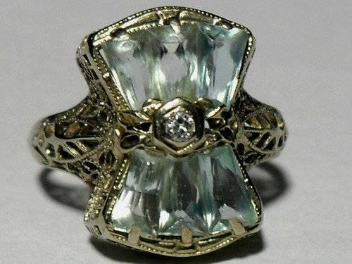 ANTIQUE Art Deco Diamond and Aquamarine Filigree Ring 14kt White Gold for Sal