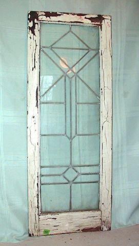 Antique Art Deco Geometric Leaded Glass Window Orig Frame For Sale