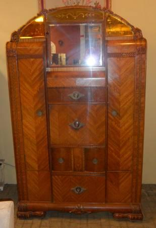 Antique Art Deco Waterfall Armoire Dresser Secretary