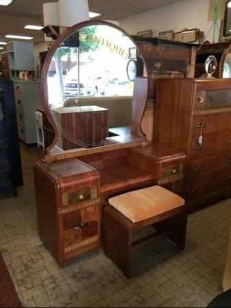 Antique Art Deco Waterfall Vanity Mirror Amp Bench For