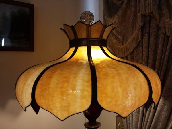 Antique Art Nouveau Bent Slag Glass Lamp Shade Hanging